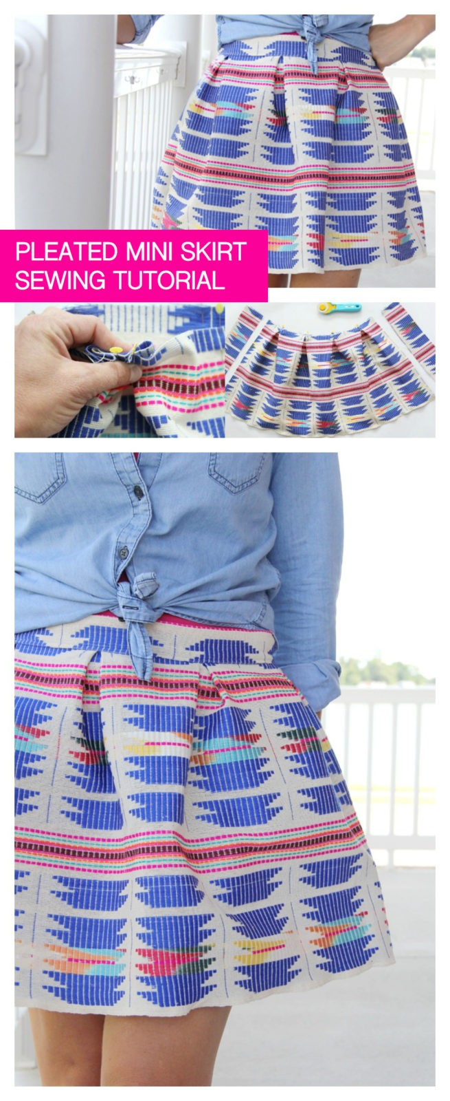 how to sew an easy pleated mini skirt