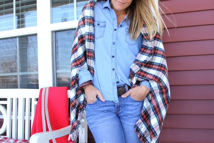Fringe Plaid Cape Scarf