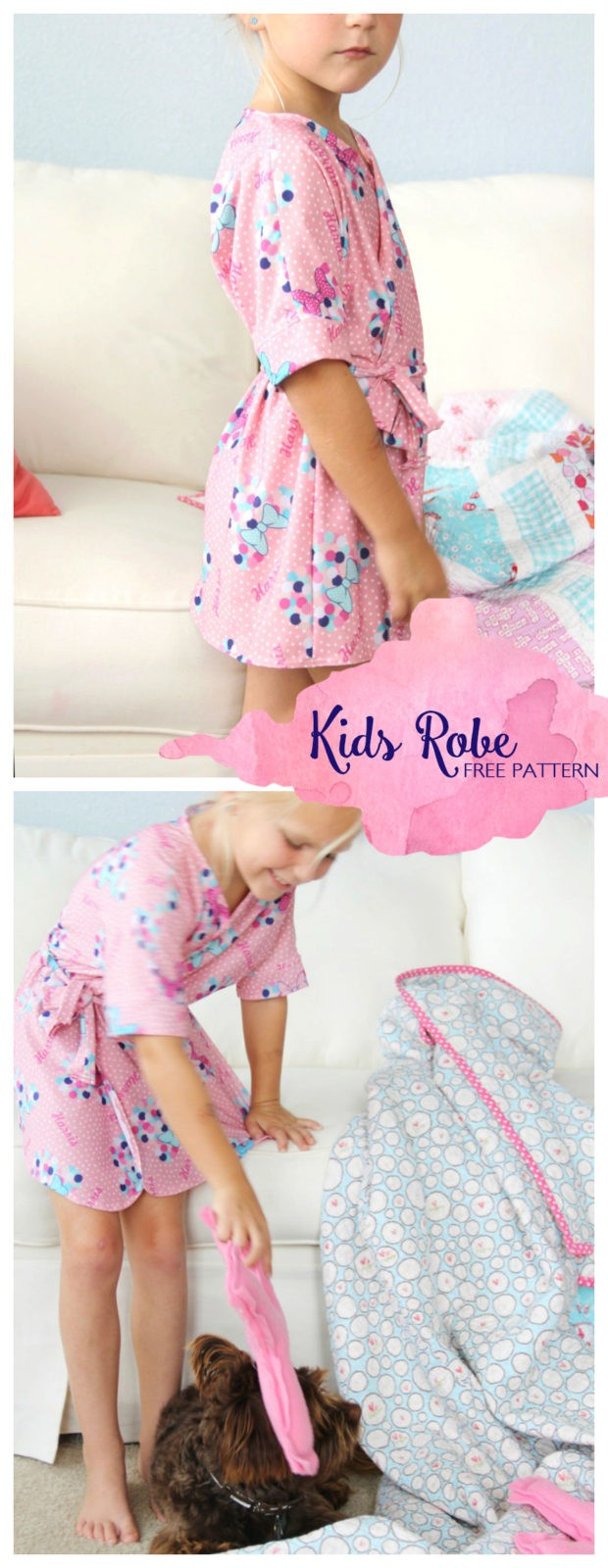 how to sew a kids bathrobe, with FREE PATTERN