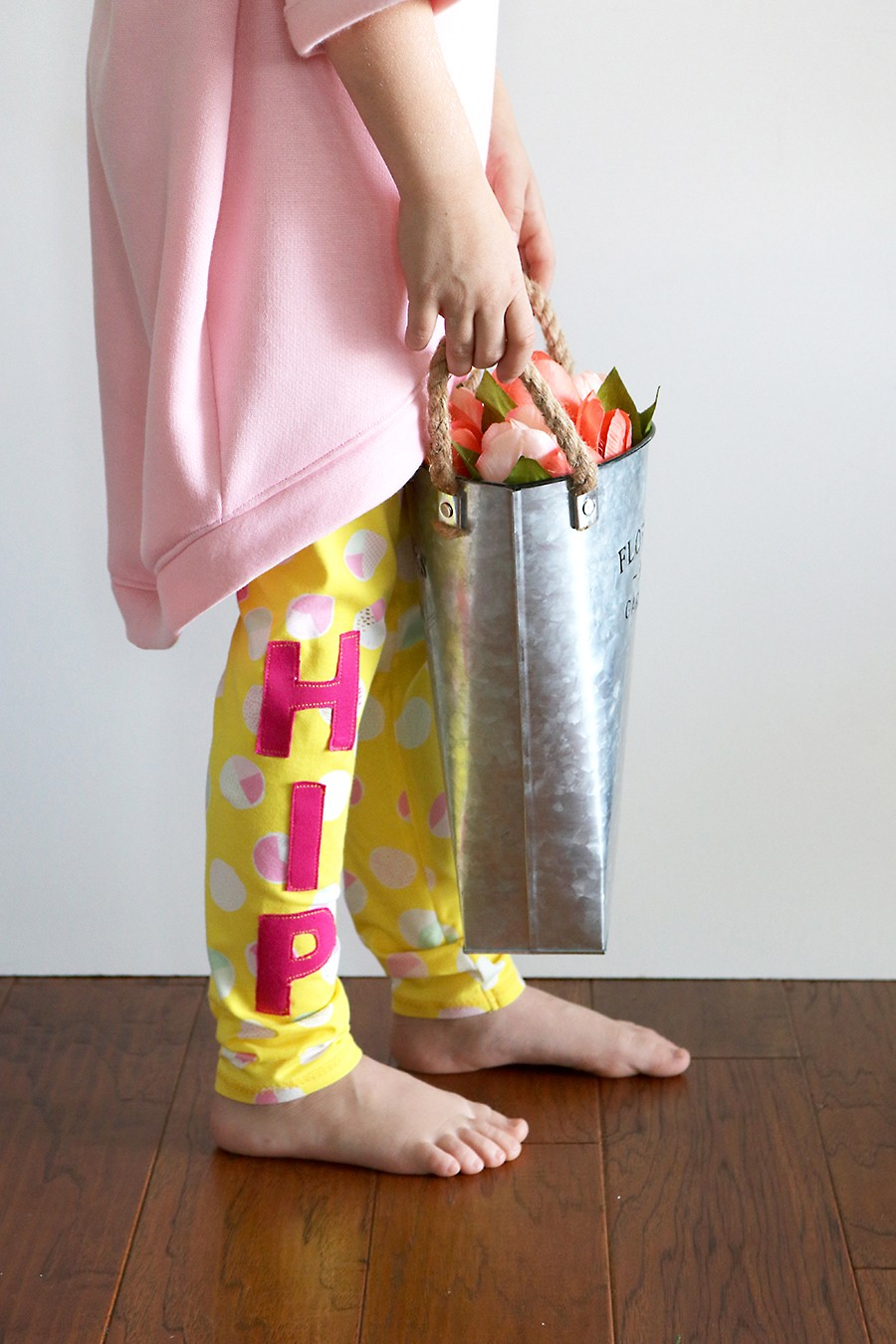 Hip Hop leggings - free kids leggings sewing pattern with hip hop applique
