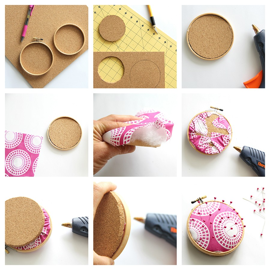 How to make an embroidery hoop pin cushion