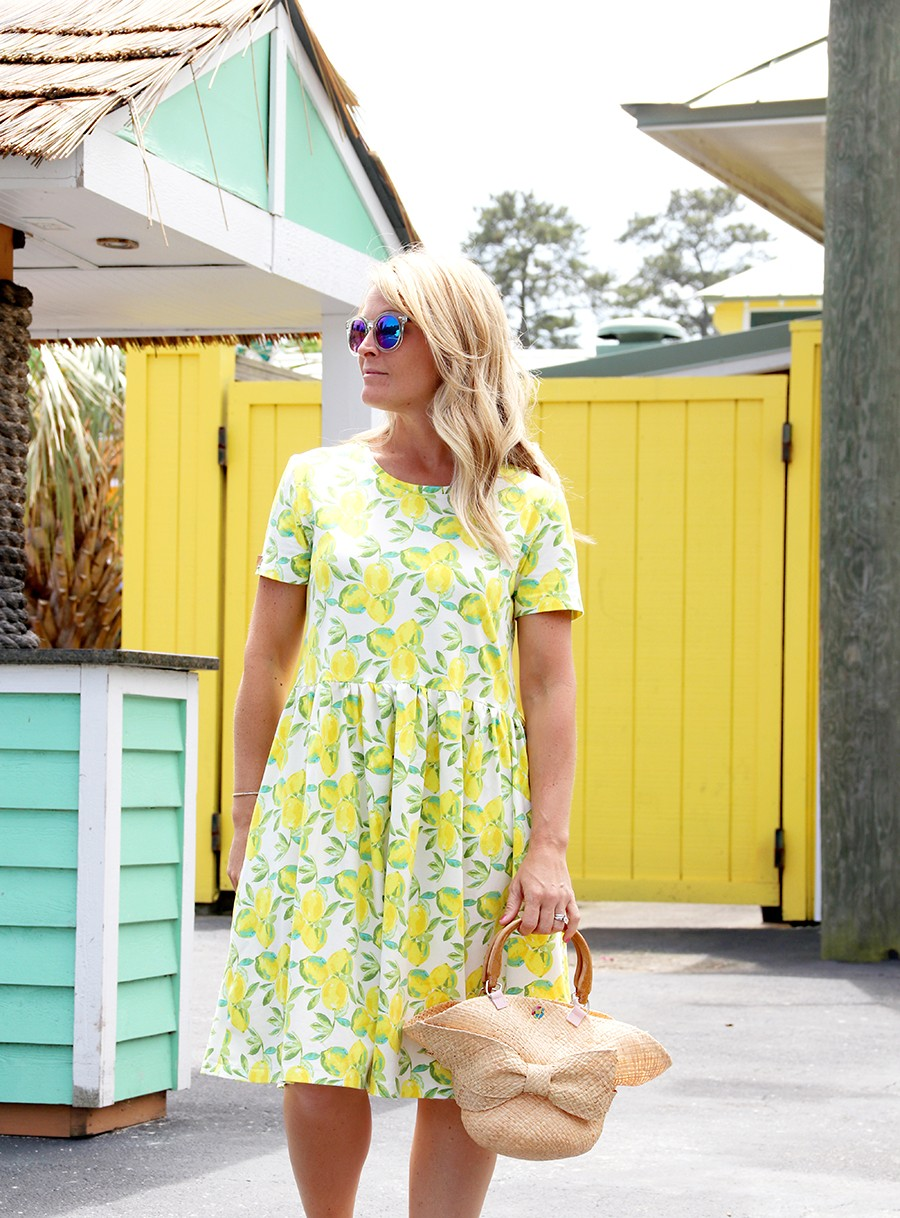 Sweet lemon fabric dress