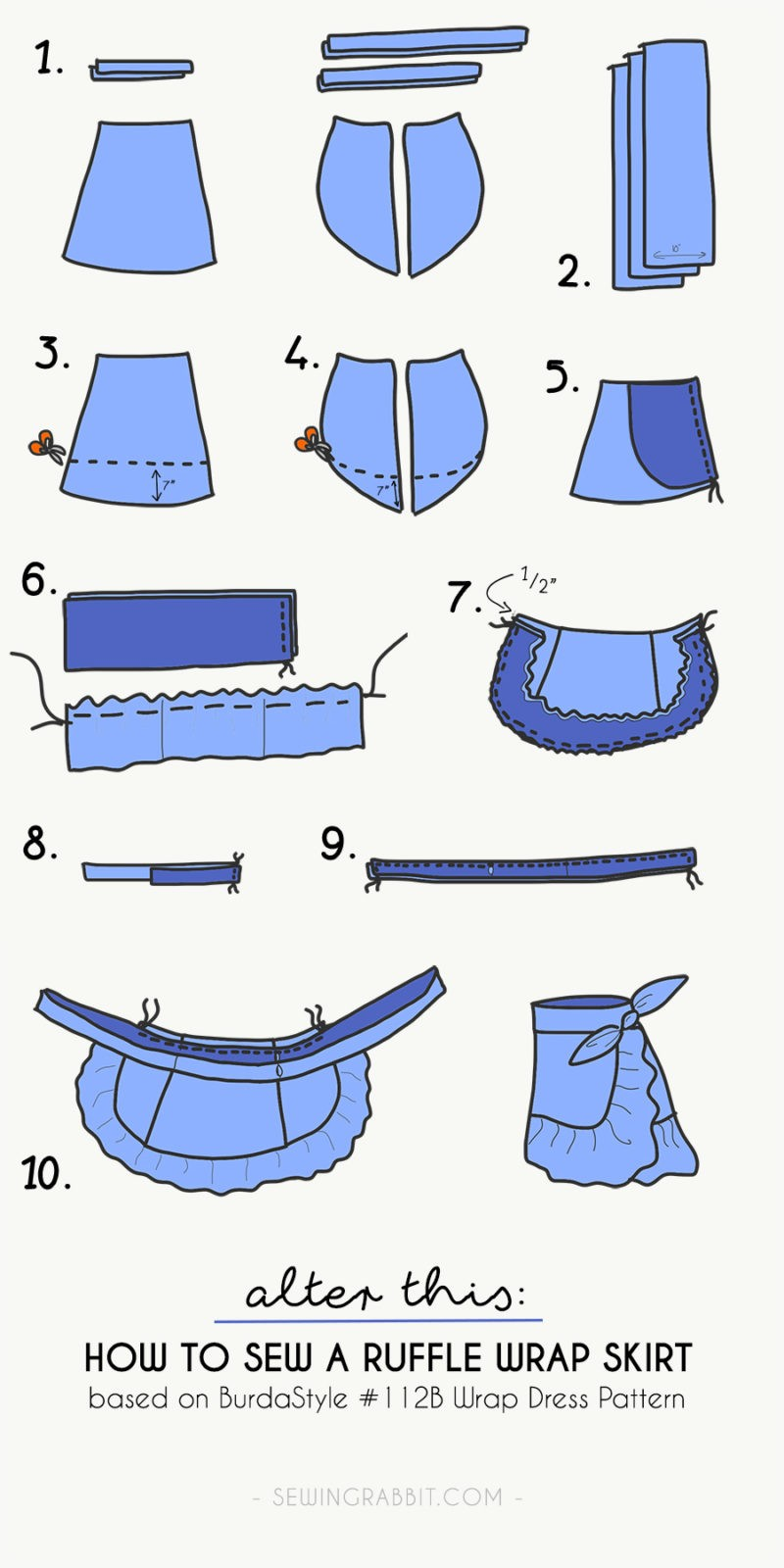 how to sew a ruffle wrap skirt