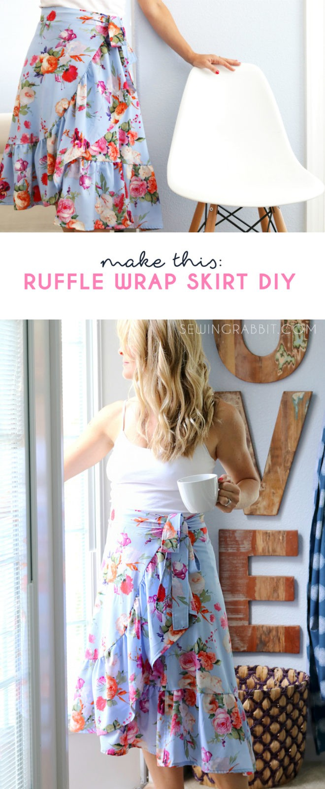 Sew a breezy bohemian style skirt, the ruffle wrap skirt!