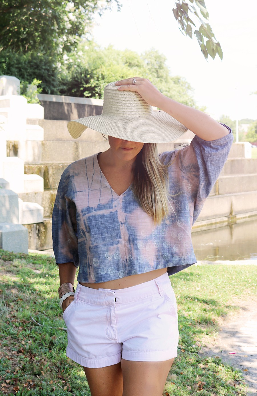 MAKE THIS: Distressed denim deep v neck top