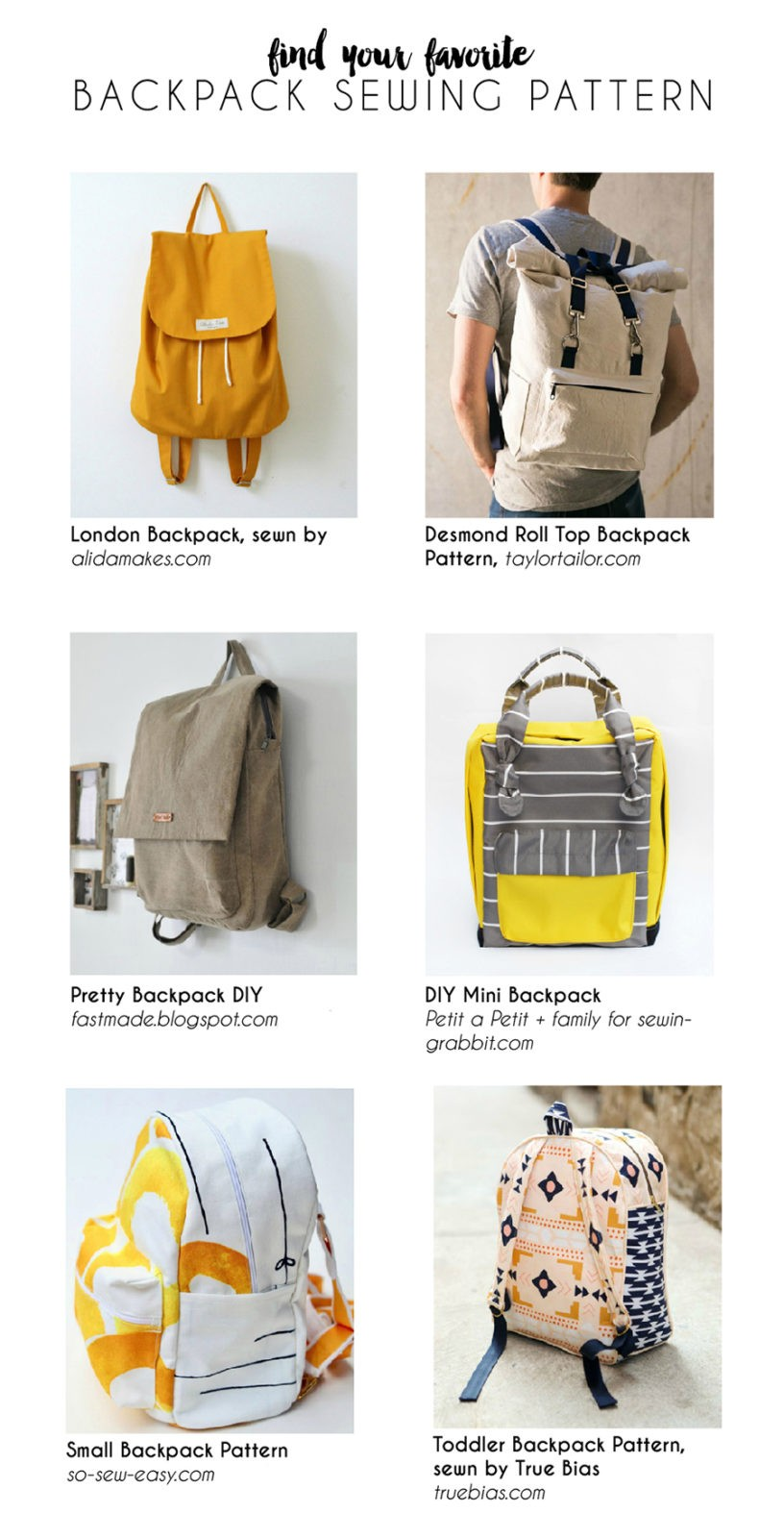 find your favorite backpack pattern!