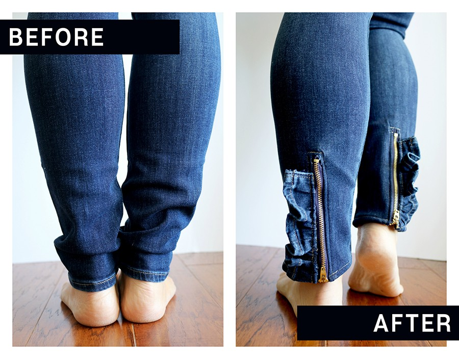 UPCYCLE YOUR JEANS: turn a drab pair of skinny jeans into these cute ruffled zipper jeans!
