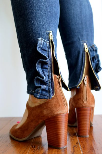 Ruffled Zipper Jeans DIY