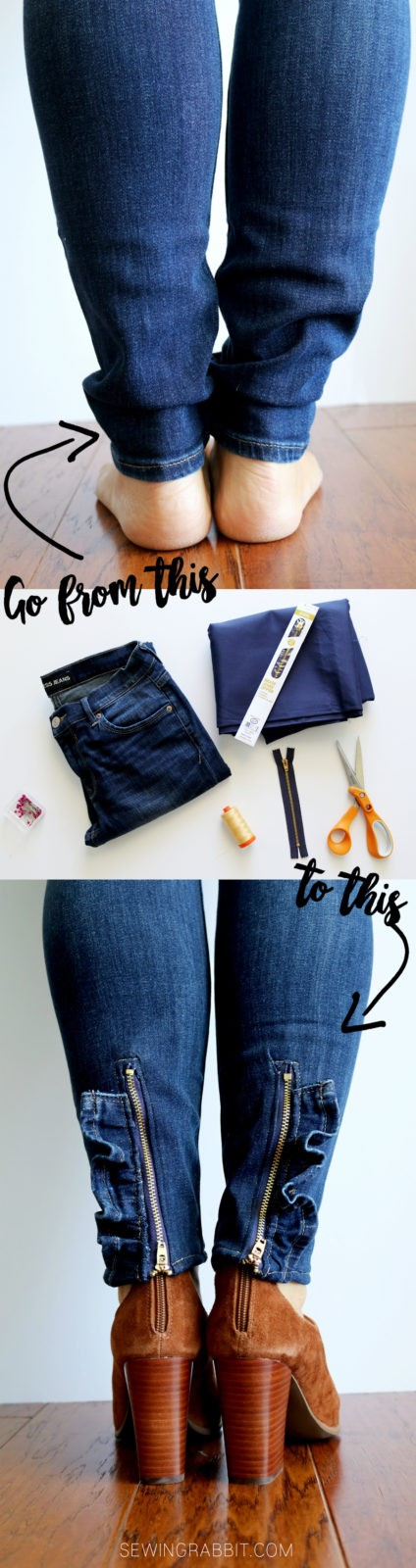 MAKE THESE: ruffled zipper jeans DIY