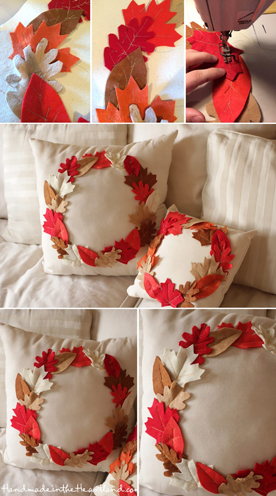 FALL DECOR: Leaf wreath pillow DIY