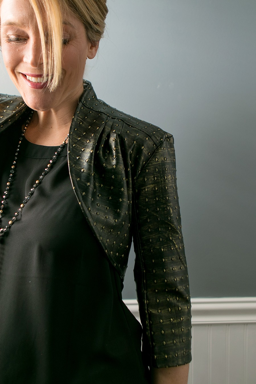 add a leather shrug to your evening attire! Punk meets elegant.