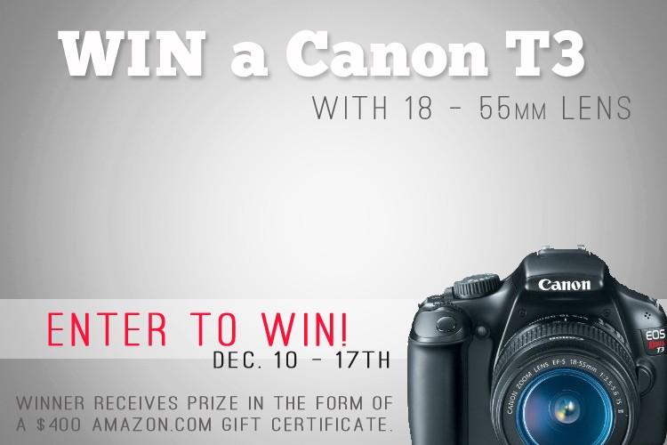 Canon T3 Camera Giveaway