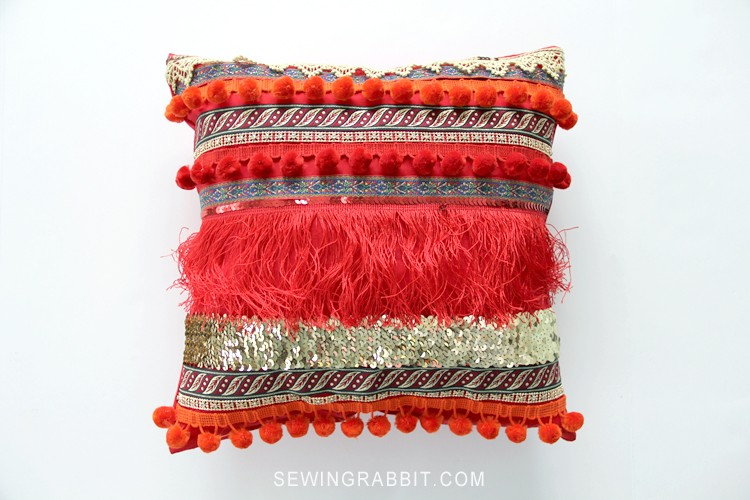 Bohemian Inspired Valentine Ribbon Pillow DIY