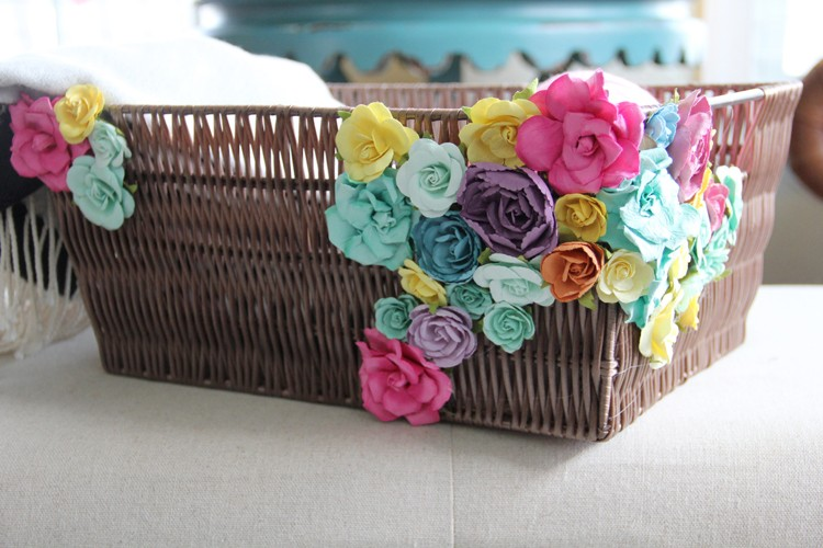 Flower embellished basket