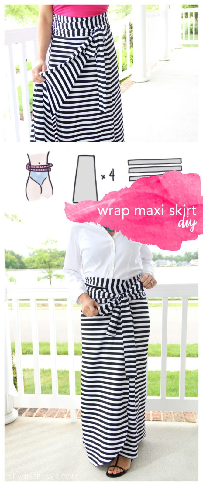 how to sew an easy wrap maxi skirt - perfect for Spring!!!
