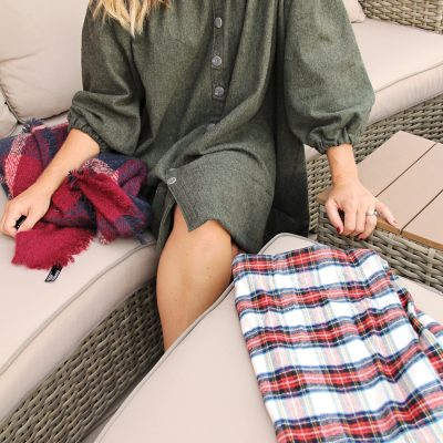 Flannel Off-the-Shoulder Dress
