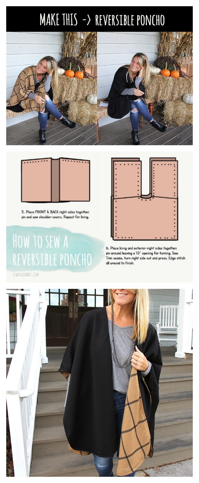 how to sew a reversible poncho