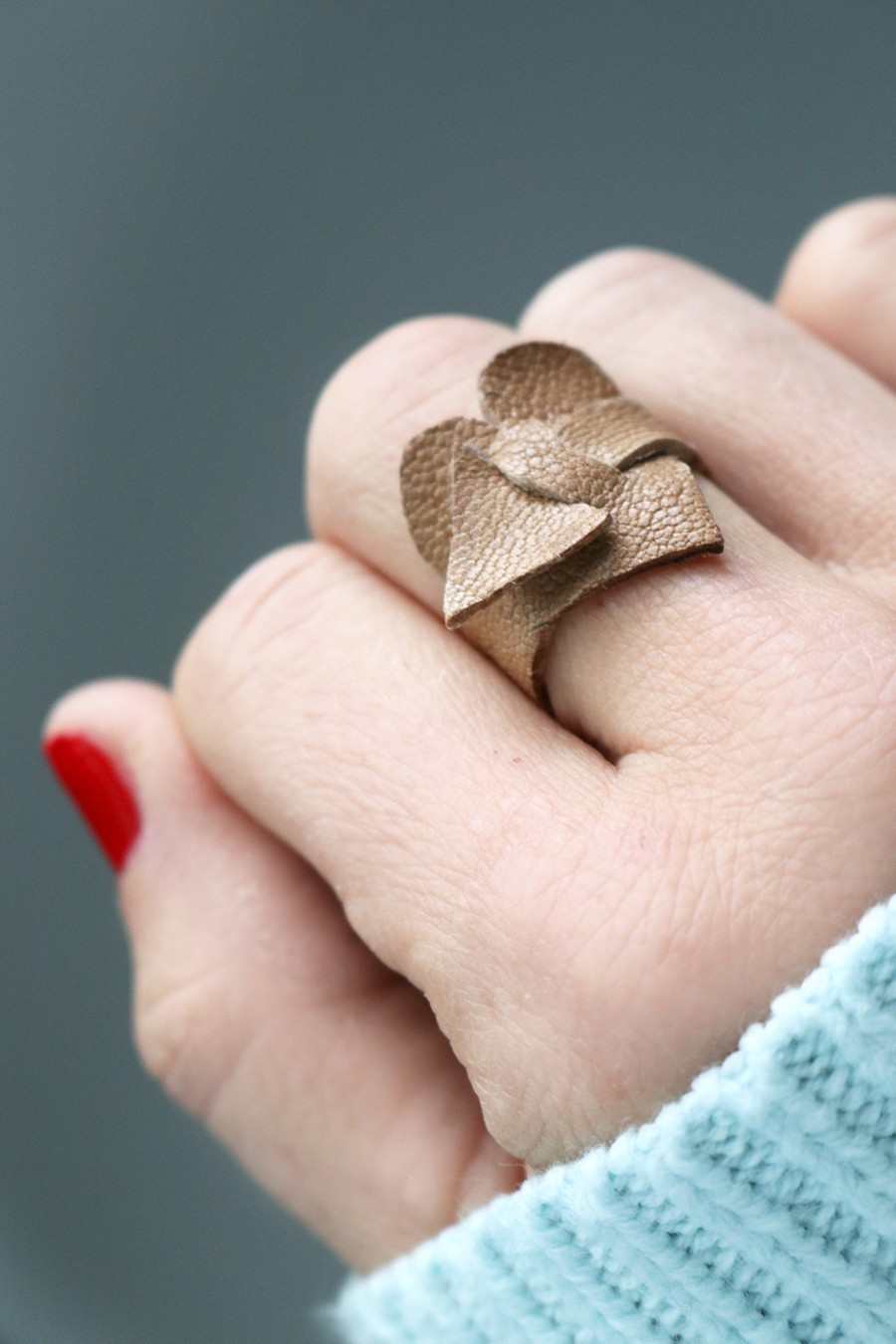 Wrap Around Leather Heart Ring The Sewing Rabbit
