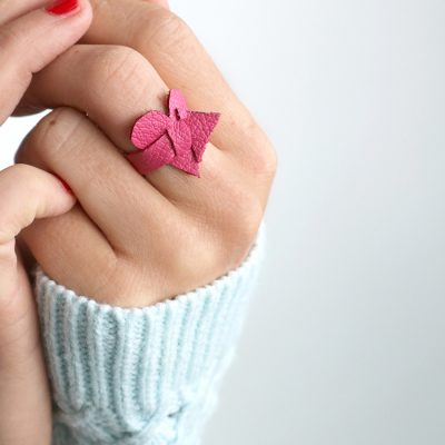 Wrap Around Leather Heart Ring