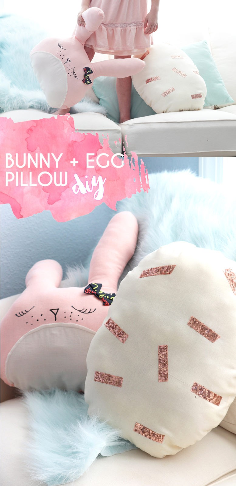 bunny and egg easter pillow tutorials, how to make a stuffed bunny and stuffed egg, easter home decor DIY