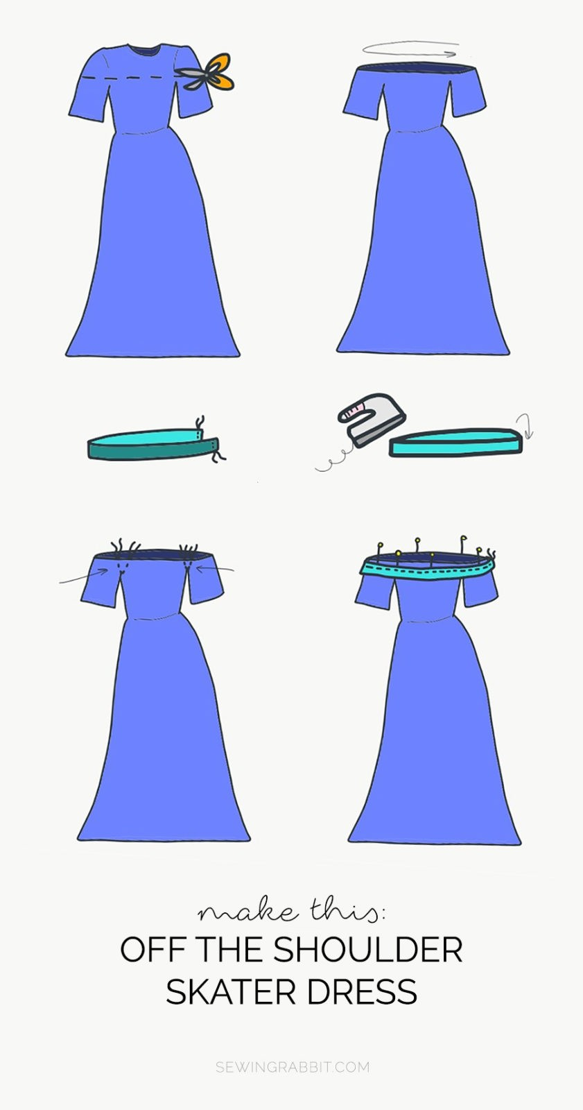 How to sew an off-the-shoulder maxi dress