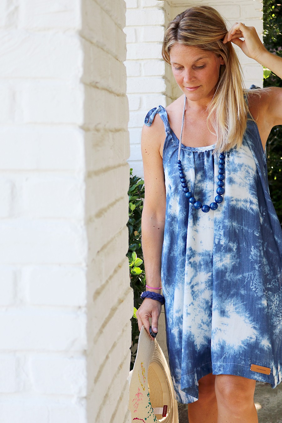 Frayed denim neckline sundress DIY