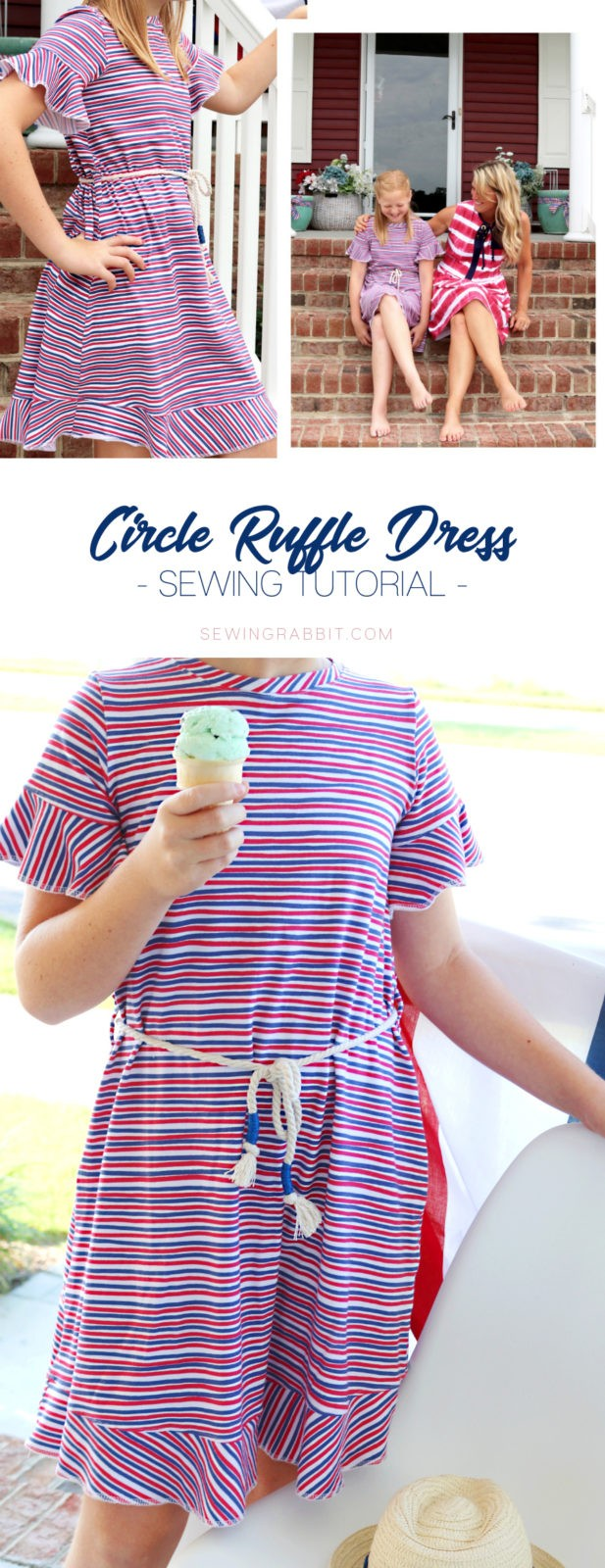 circle ruffle dress diy (aka - the easiest t-shirt dress you will make this Summer!)