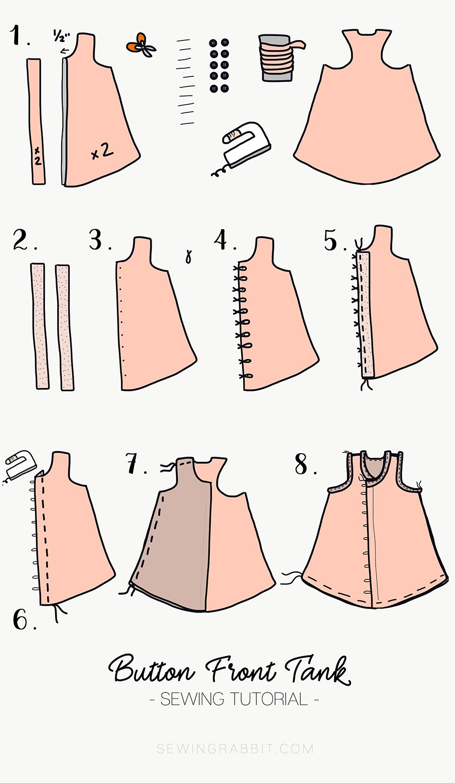 how to sew a button front tank top