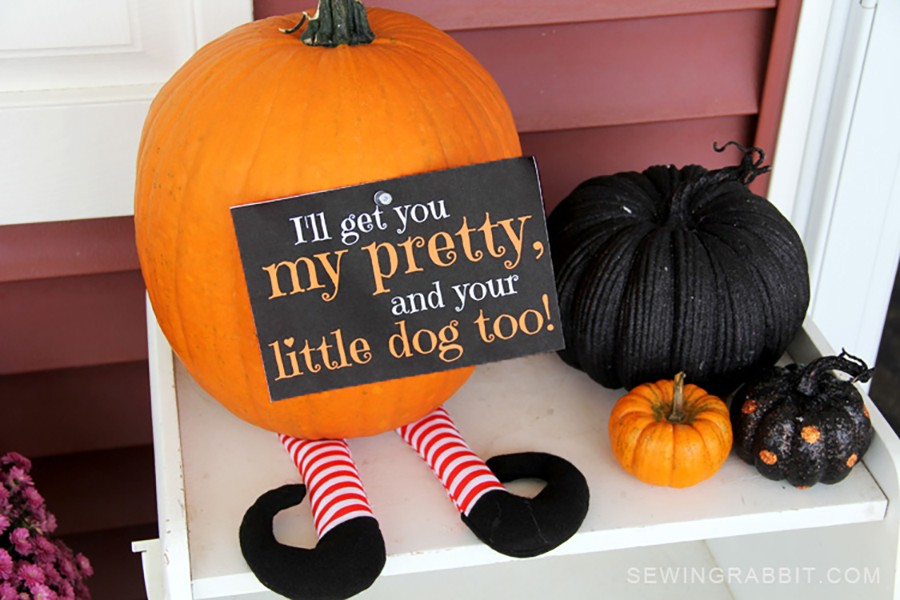 HALLOWEEN DECOR: Free witch leg pattern (The Wizard of Oz pumpkin)