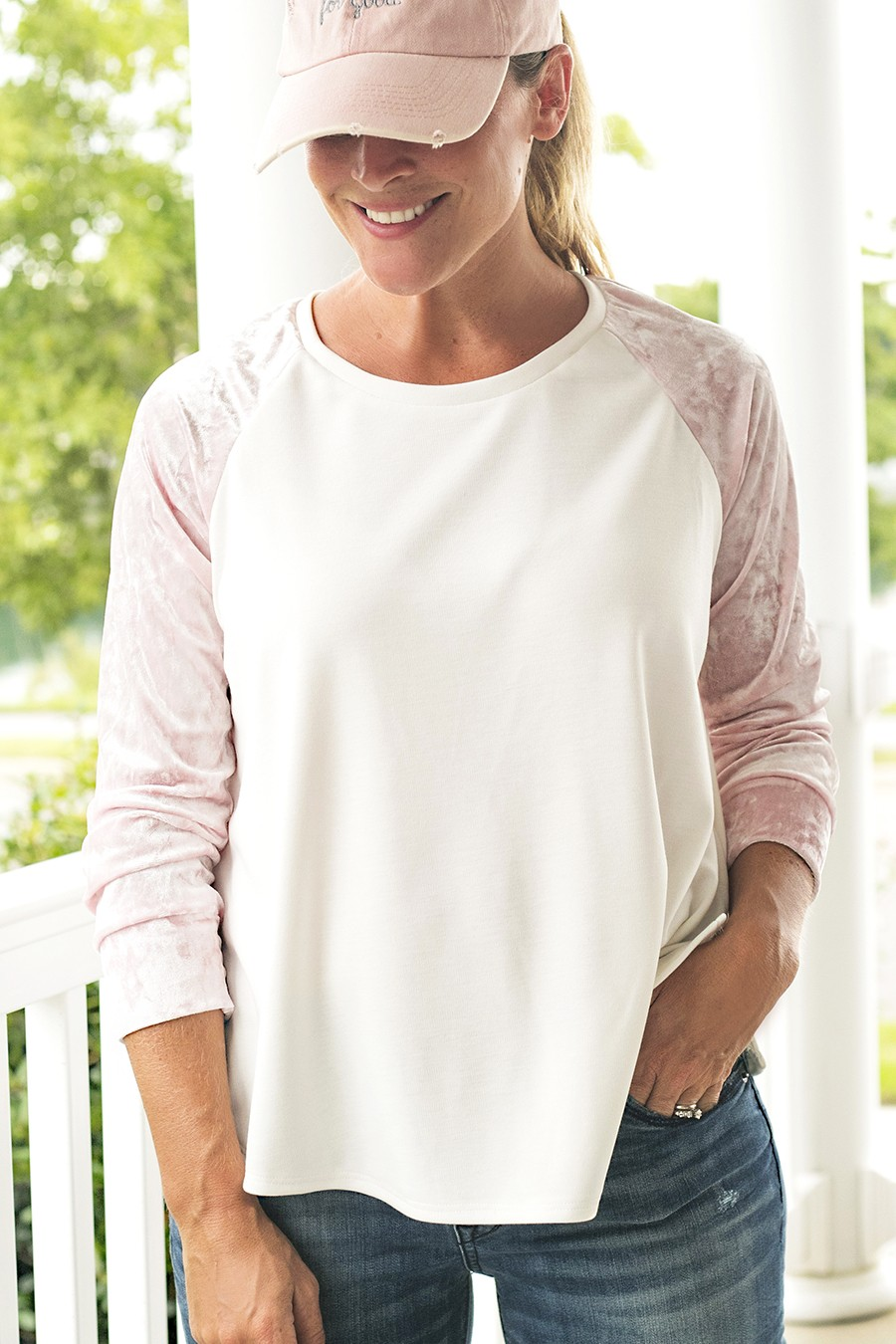 MAKE THIS: velvet sleeve raglan shirt