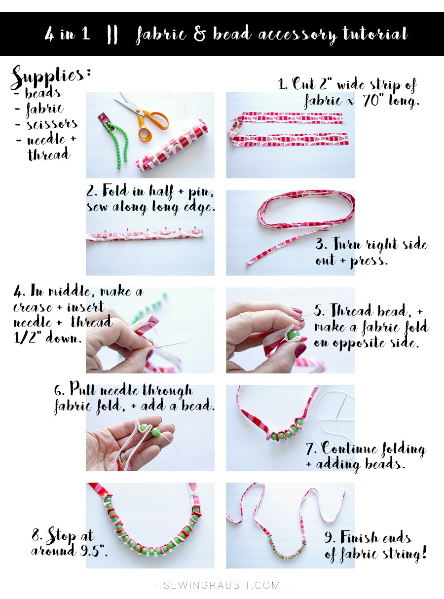 how to make the fabric and bead accessory