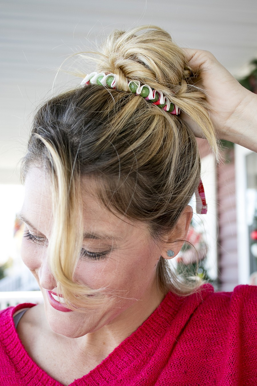 I love this idea!!! Add a fabric ribbon with some beads to your messy bun!