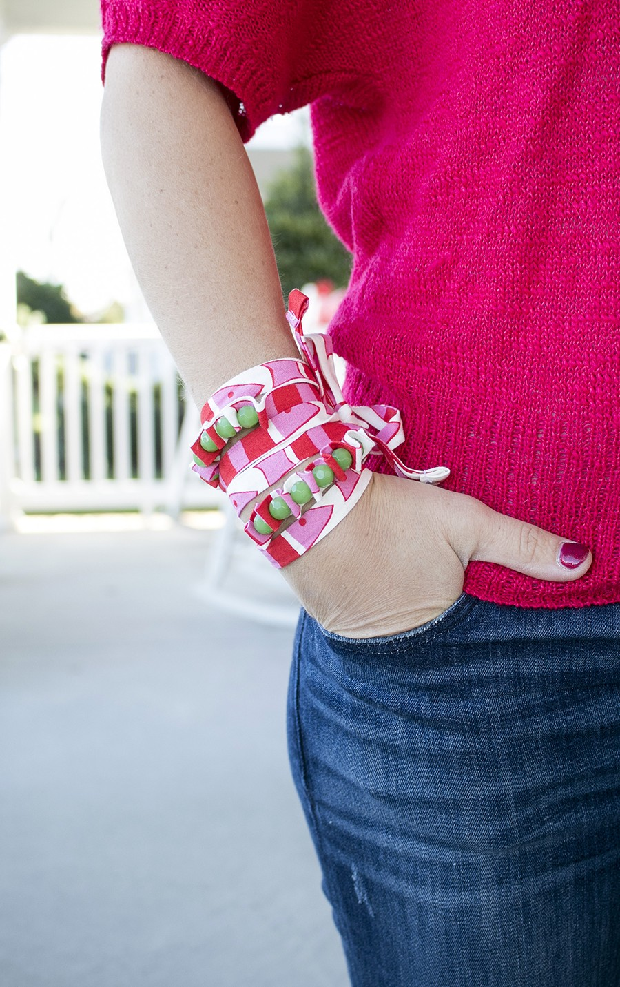 handmade scrap fabric bracelet tutorial