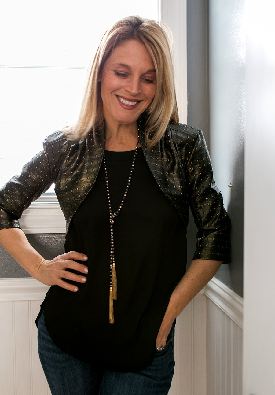 leather studded cropped jacket DIY