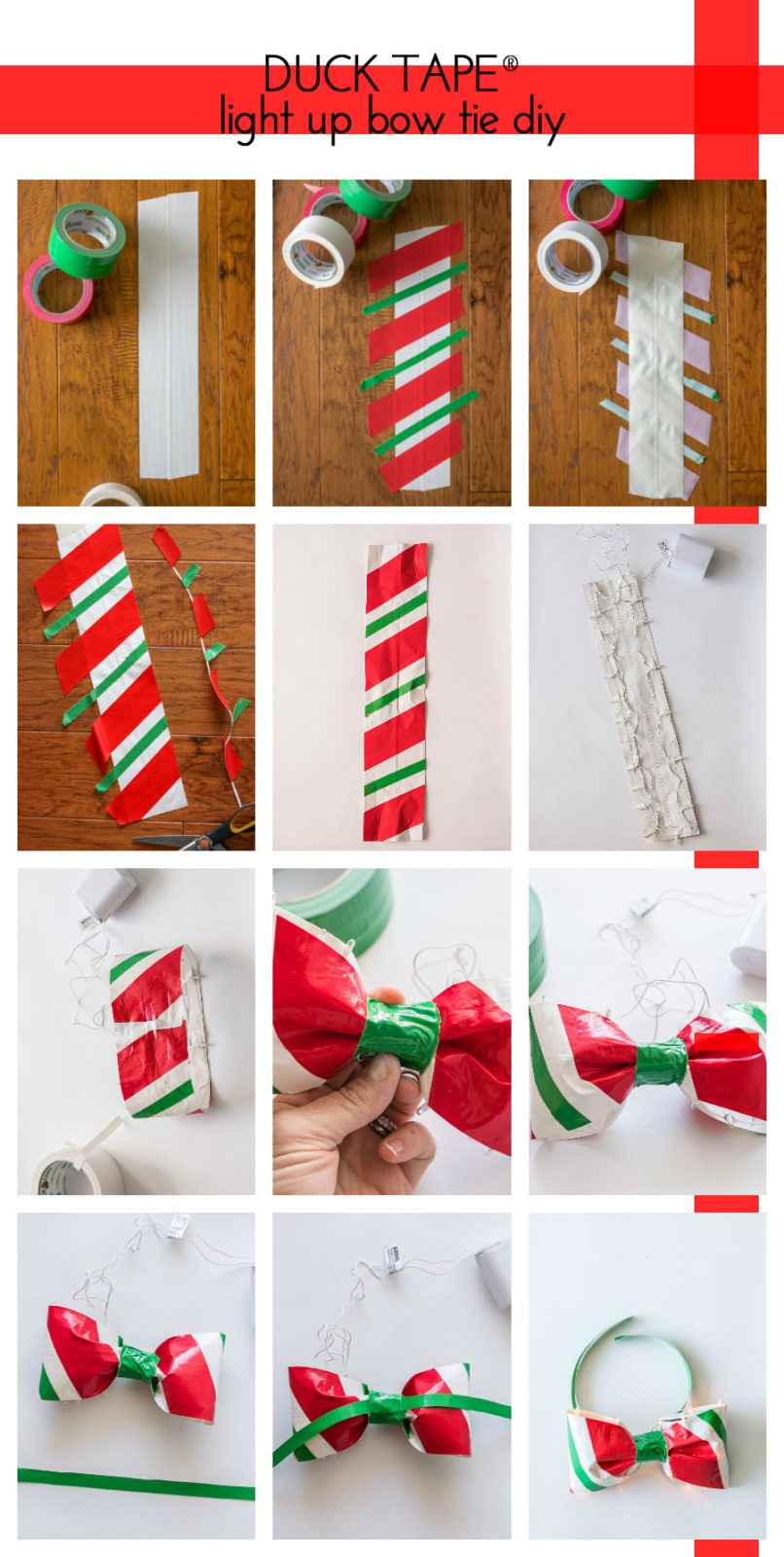 how to make a light up bowtie from Duck Tape